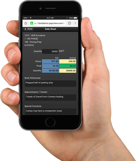 paycrew construction productivity management app